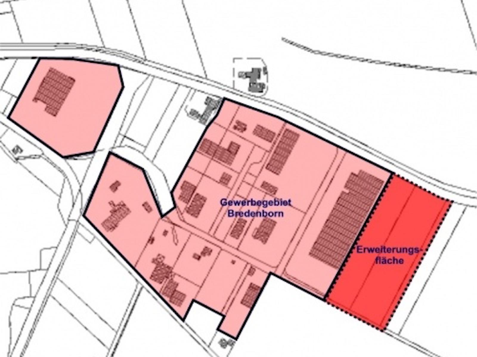 Plan Gewerbegebiet Bredenborn